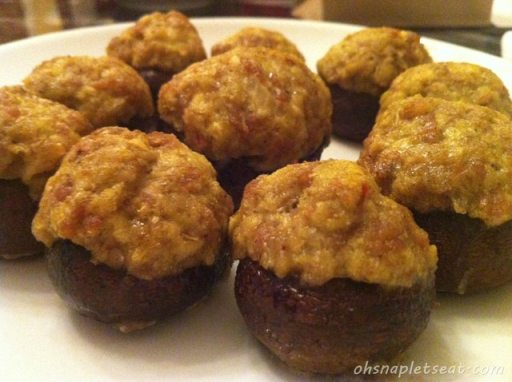 A Healthy Super Bowl Snack: Sausage Stuffed Baby Portobello Mushrooms