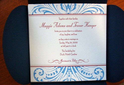 Maggie4 500x343 Maggie + Trevor's Campaign Theme Wedding Invitations