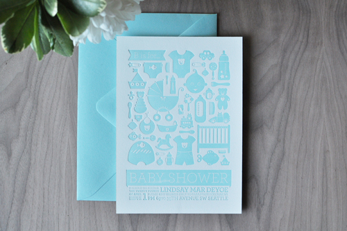 blue letterpress baby shower invitations All about blue…
