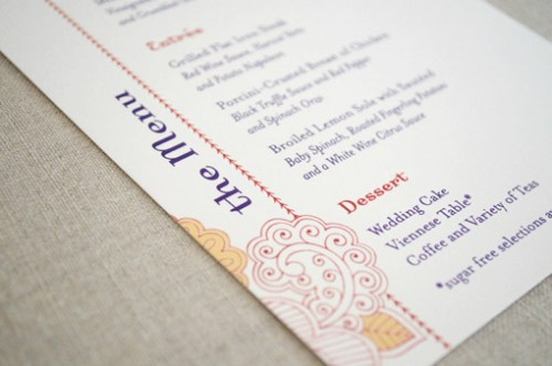 Hindu Wedding Stationery Menu 500x332 Hindu Wedding Stationery