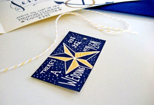 Jessica Jared Sailor Tattoo Wedding Invitations Nautical Tag 500x343 Sailor Tattoo Inspired Wedding Invitations
