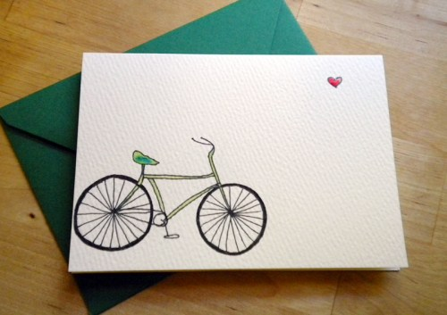 bicycle card 500x353 Illustrated Note Cards   Betsy Ann Paper