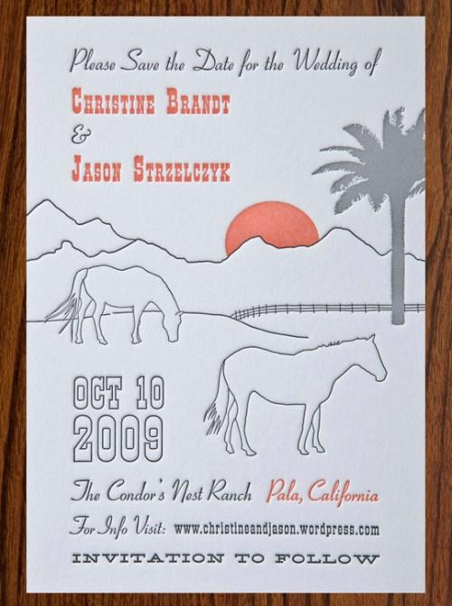 california letterpress wedding save the date 500x671 Christine + Jasons Polka Dot and Floral Wedding invitations
