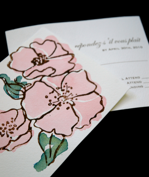 garden rose RSVP Hand Painted Watercolor Vintage Garden Rose Invitation Suite