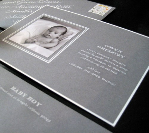 gray white engraved baby announcement 500x446 Sugar Paper   Modern Gray + White Baby Announcements