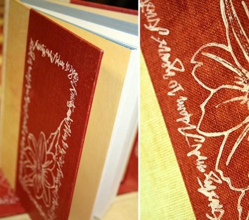 handpainted vintage book invitation 500x443 Kristy + Adams Vintage Book Invitations