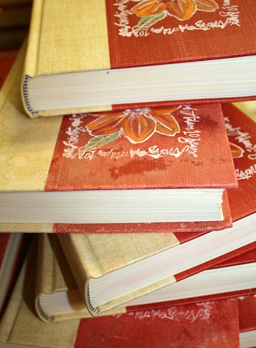 hardcover vintage book wedding invitations Kristy + Adams Vintage Book Invitations