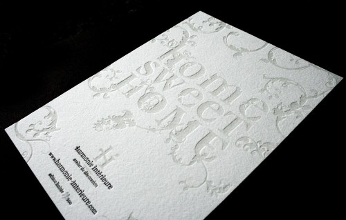 harmonie interieure letterpress business cards 500x319 Business Card Ideas and Inspiration #3
