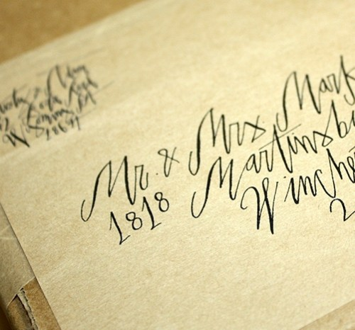 invitation address calligraphy 500x466 Kristy + Adams Vintage Book Invitations