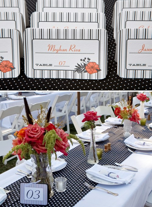 polka dot stripes wedding table numbers placecards 500x681 Christine + Jasons Polka Dot and Floral Wedding invitations