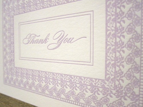 purple letterpress floral thank you cards 500x375 Bow + Arrow