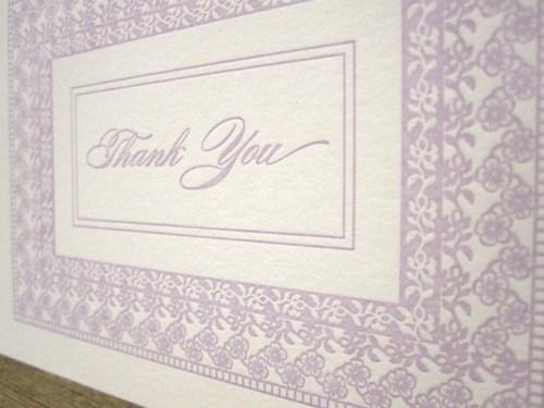 purple letterpress floral thank you cards 500x375 Bow + Arrow