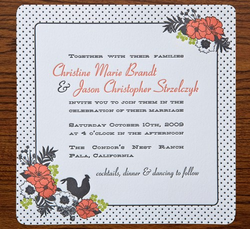 swiss dot letterpress wedding invitations 500x458 Christine + Jasons Polka Dot and Floral Wedding invitations