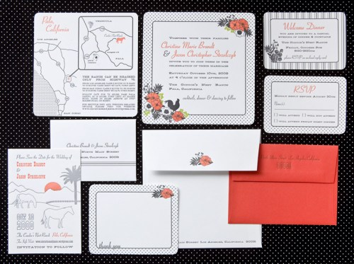 swiss dot wedding invitations 500x373 Christine + Jasons Polka Dot and Floral Wedding invitations