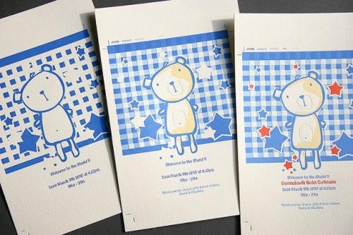 teddy bear letterpress baby announcement2 500x333 Teddy Bear Baby Announcements