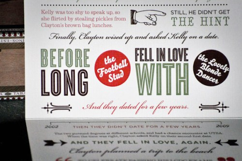 typography non traditional wedding invitations text 500x332 Vintage Inspired Typography Save the Dates