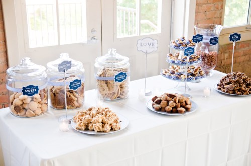 wedding dessert bar buffet ideas 500x332 Nikkis Navy + White Dessert Bar
