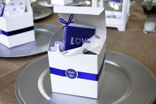 wedding dessert bar ideas favor box 500x334 Nikkis Navy + White Dessert Bar