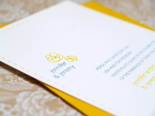 Jeremy Jennifer Yellow Blue Canoe Invitations Detail Flowers Names 499x374 Jeremy + Jennifers Yellow and Blue Modern Floral Wedding Invitations