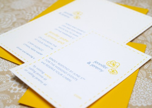 Jeremy Jennifer Yellow Blue Canoe Invitations and RSVP2 499x357 Jeremy + Jennifers Yellow and Blue Modern Floral Wedding Invitations