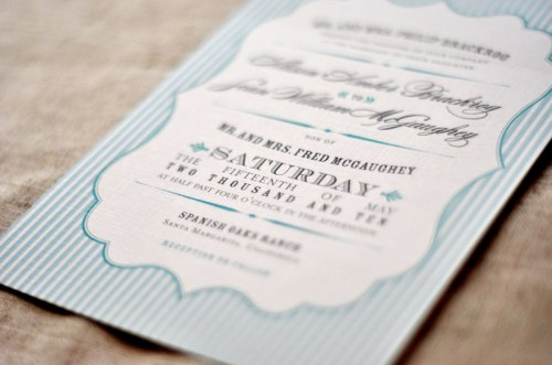 Rustic Blue White Stripe Wedding Invitation 500x331 Amber + Seans Rustic Wedding Invitations