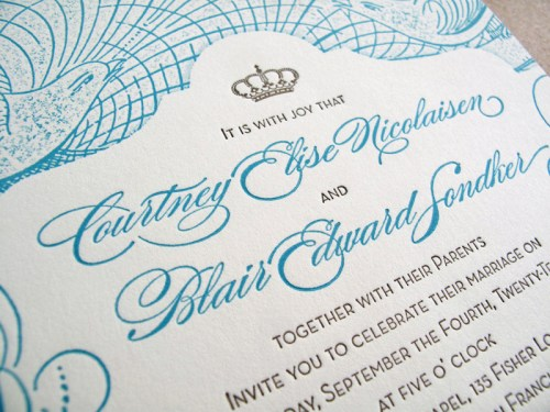Vintage San Francisco Wedding Invitation Text 500x375 Vintage Inspired San Francisco Wedding Invitations