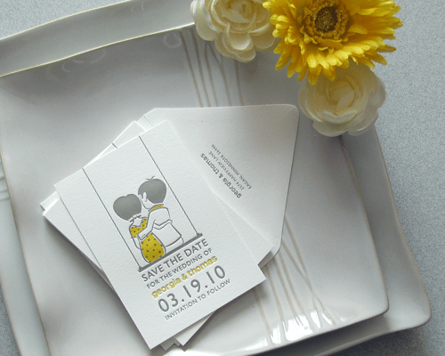 Yellow Gray Letterpress Save the Dates Sweet Save the Dates