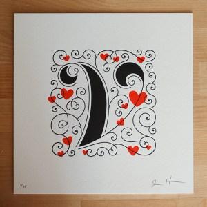 jessica hische letterpress v 300x300 Jessica Hische Letterpress Alphabet Prints