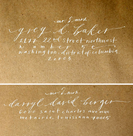 neither snow calligraphy kraft paper envelope Lovely Calligraphy from Neither Snow