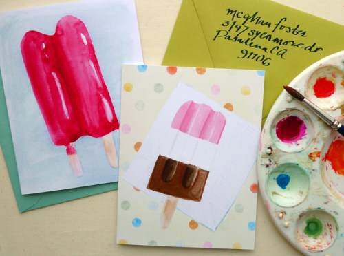 summer popsicles card 500x372 Watercolor Popsicle Cards