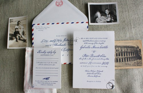 vintage travel airmail wedding invitation suite 500x325 Vintage Airmail Inspired Wedding Invitations