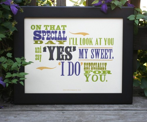 wedding day letterpress gift 500x416 Especially For You Letterpress Print