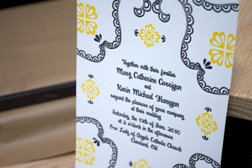 yellow black white letterpress wedding invitation2 500x334 Mary + Kevins Modern Yellow and Black Letterpress Wedding Invitations