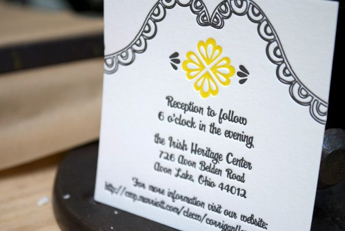 yellow black white letterpress wedding invitations reception card 500x334 Mary + Kevins Modern Yellow and Black Letterpress Wedding Invitations