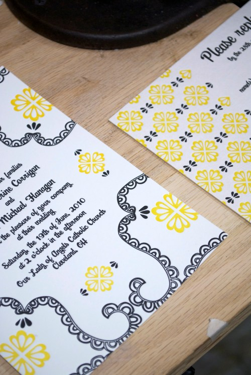 yellow black white letterpress wedding invitations 500x747 Mary + Kevins Modern Yellow and Black Letterpress Wedding Invitations