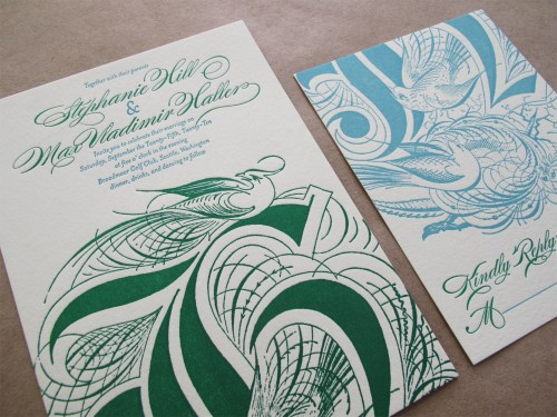 Aqua Emerald Wedding Invitations RSVP 500x375 Emerald + Aqua Wedding Invitations