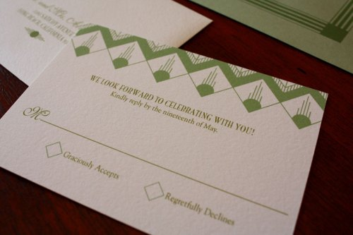 Art Deco Wedding Invitations Green 500x333 Art Deco + Sea Coral Wedding Invitations