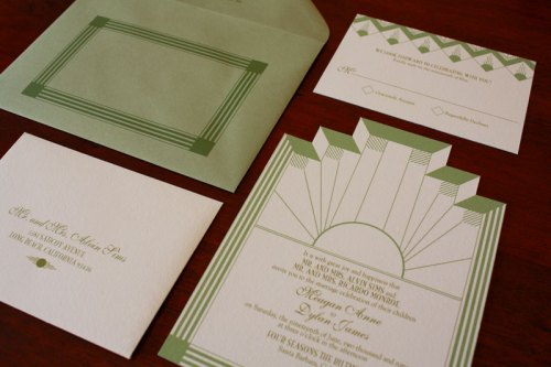 Art Deco Wedding Invitations 500x333 Art Deco + Sea Coral Wedding Invitations
