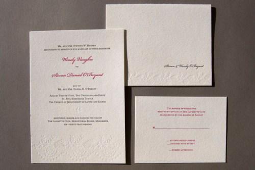Pistachio Press Letterpress Wedding Invitations Eyelet Lace 500x333 Wedding Invitations   Pistachio Press