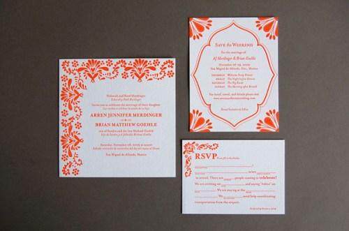 Pistachio Press Letterpress Wedding Invitations Mexican Tile 500x331 Wedding Invitations   Pistachio Press