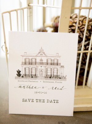 hand illustrated manor save the date 300x403 Hand Illustrated Save the Dates