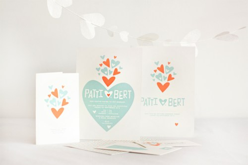 mitchell dent modern paper heart wedding invitation suite 500x333 Wedding Invitations   Mitchell + Dent