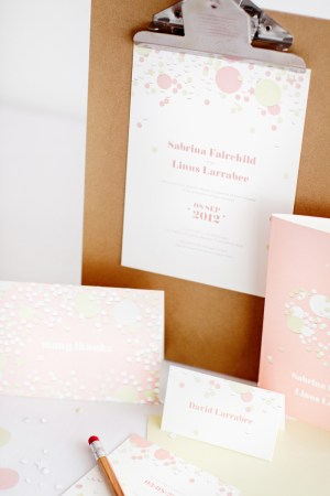 mitchell dent pink confetti wedding invitation detail 300x450 Wedding Invitations   Mitchell + Dent