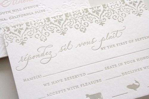 pink gray wedding invitation rsvp 500x333 Romantic Pink + Gray Wedding Invitations