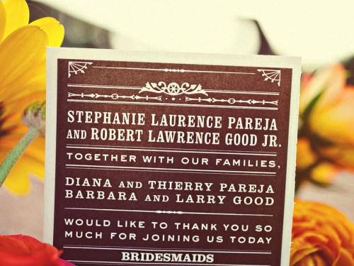 texas ranch wedding invitations ceremony program 500x375 Texas Ranch Wedding Invitations