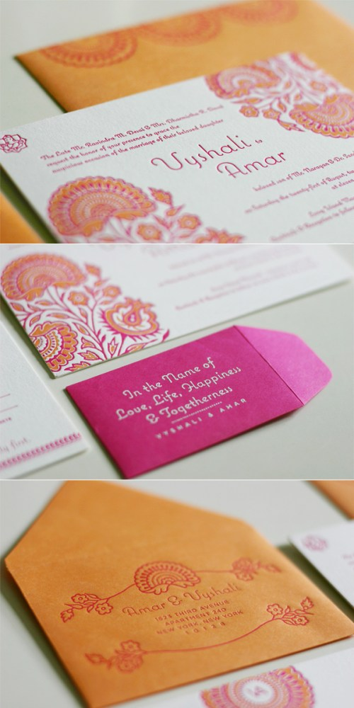 traditional hindu wedding invitations orange pink 500x1000 Traditional Hindu Wedding Invitations