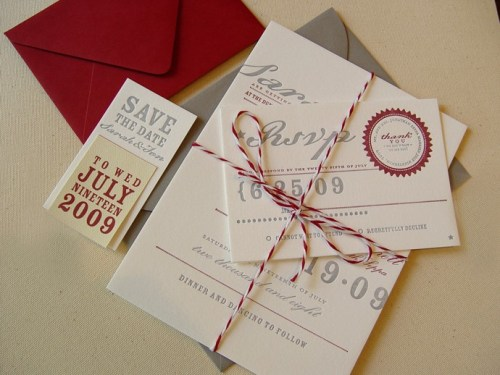 42pressed red gray save the date wedding invitation 500x375 New Giveaway! Save the Dates from 42 Pressed!