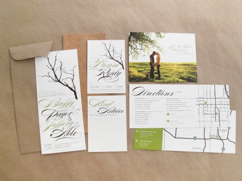 Branch Twine Wedding Invitations 500x374 Buffy + Jeffs Twine, Cork, and Branch Wedding Invitations