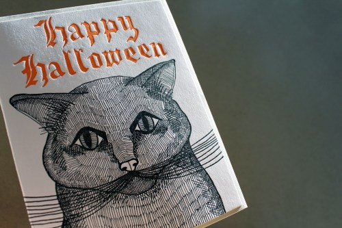 Halloween Black Cat Card Sycamore Street Press 500x333 Seasonal Stationery: Halloween Cards and Invitations