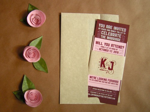 Katy Jason Red Pink Screenprinted Wedding Invitations Envelope 500x375 Katy + Jasons Vintage Inspired Wedding Invitations